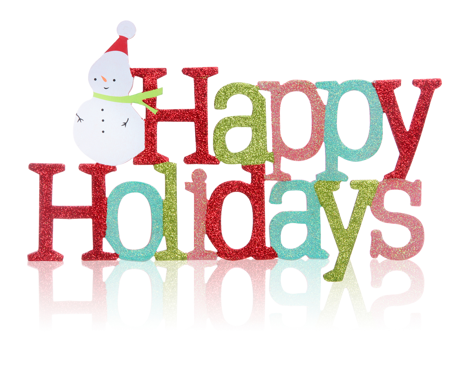 A colorful Happy Holidays sign with snowman over white background
